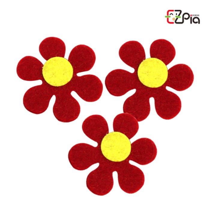 펠트꾸미기-6잎꽃 빨강/펠트 꽃